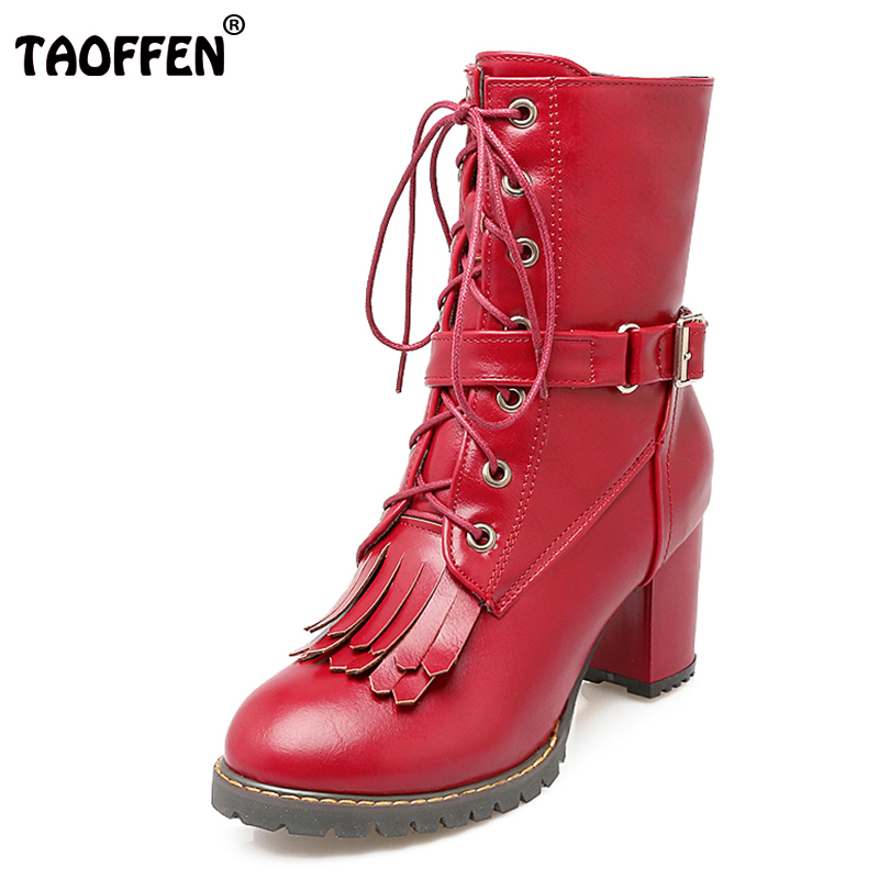TAOFFEN Size 30-47 Women Mid Calf Thick Heel Boots Buckle Rivet High Heel Boots With Fur Winter Shoes Snow Botas Woman Footwear lukuco pure color women mid calf snow boots with faux fur design high quality pu made med wedges heel shoes