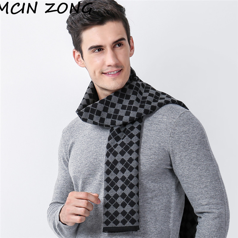 Men   Scarf   Winter Autumn Man   Scarves     Wrap   Shawl Thick Men's   Scarf   Plaid Warm Cotton Cashmere Wool Blended Knit Brushed   Scarf
