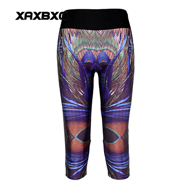 8cf891acbc44cf New 1003 Sexy Girl Women peacock feather Stripe 3D Prints Workout stretch  Fitness Elastic Cropped Trousers