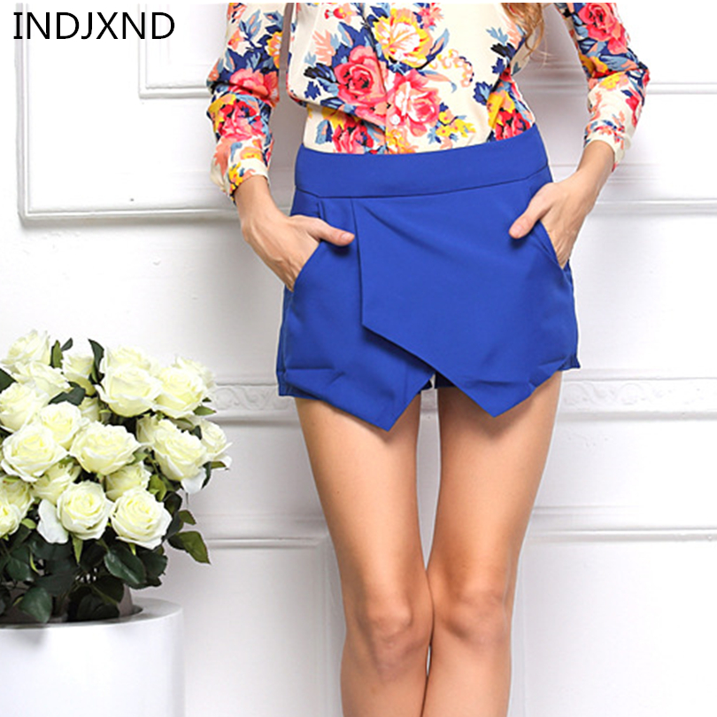 INDJXND Women Summer Shorts European And American Shorts Wind Irregular Geometric Shape Mid Straight Layered Zipper Short