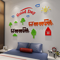Funny Cartoon Characters Face Acrylic Stickers DIY Room Wall Home Decorations Interesting Gift