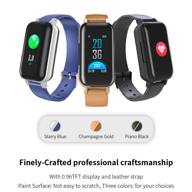 FUWUDIYI <font><b>T89</b></font> <font><b>TWS</b></font> Smart Binaural Bluetooth Headphone Fitness Bracelet Heart Rate Monitor Music Earphone Waterproof Smart Watch image