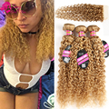 Honey Blonde Brazilian Hair With Closure 7a Brazilian Kinky Curly Virgin Hair With Closure Deep Curly Brazilian Hair With Closur