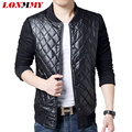LONMMY M-6XL PU leather jacket men coat Men suede mens leather jackets and coats Diamond plaid Slim fit Casual 2016 New