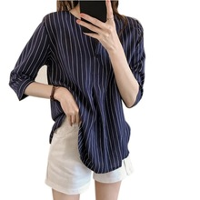 Women Striped Office Lady Casual Korean Blouse Tops Female 2019 Spring Autumn Th