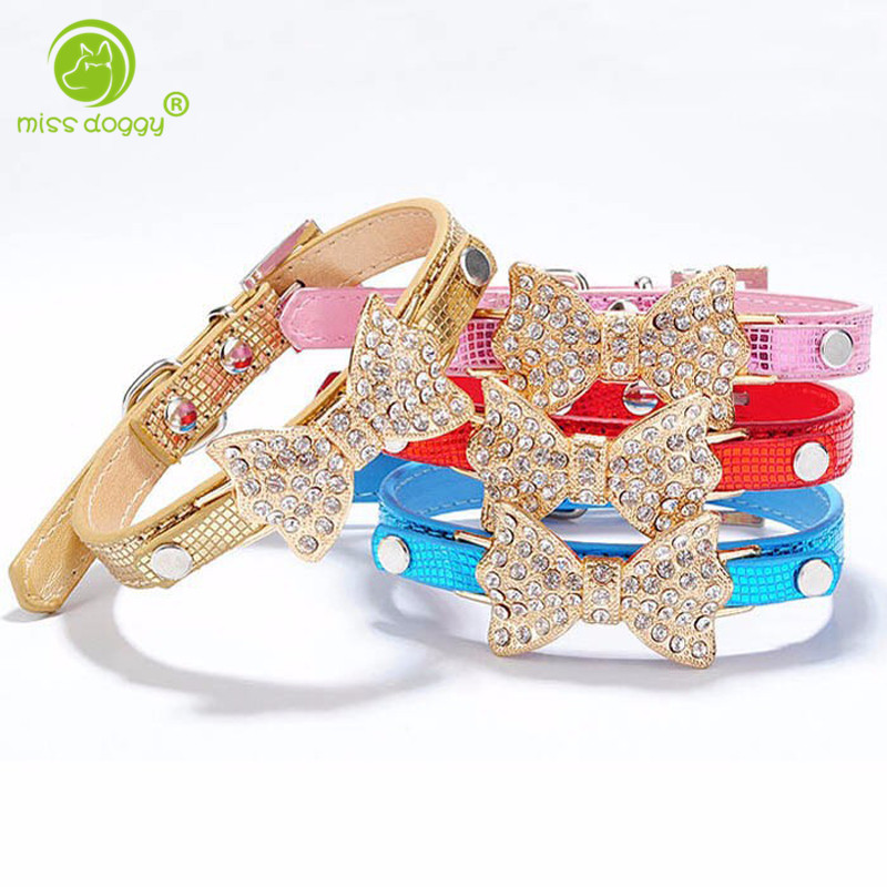 Beautiful Dog Collar Bling Crystal Rhinestone Bow Leather Pet Necklace Puppy Choker Cat Necklace for Chihuahua XS S M Free Ship