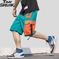 2019 Harajuku Shorts Streetwear Summer Hip Hop Cargo Short Pocket Men Short Jogger Cotton Sweatpant Casual HipHop Swag Ribbon