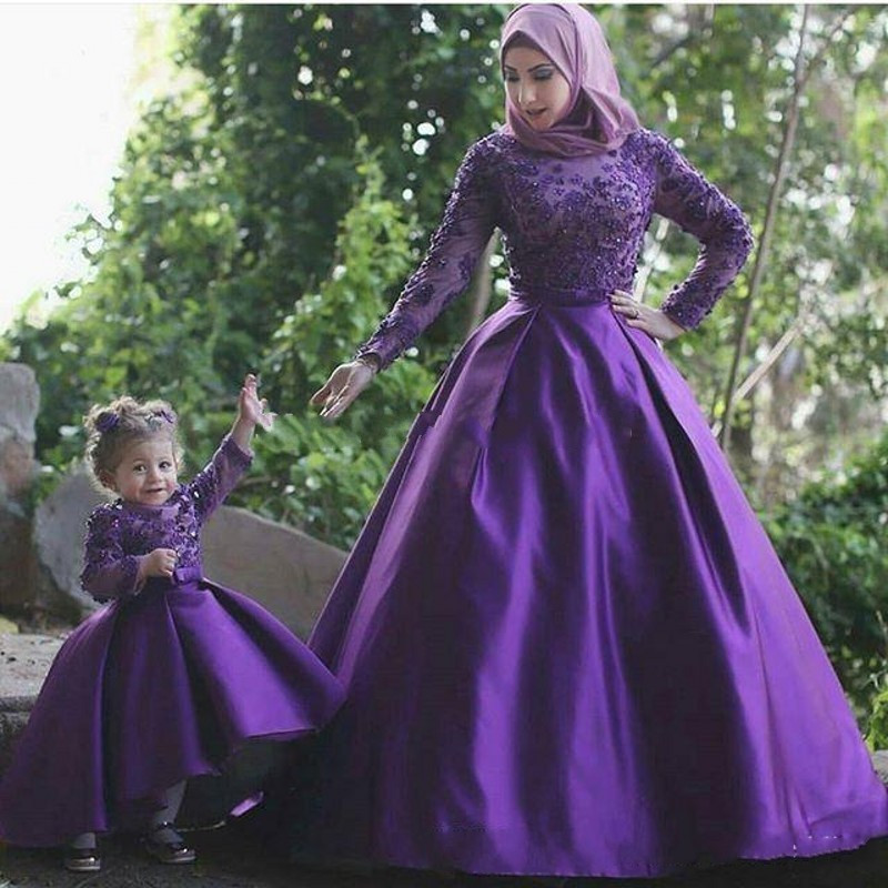 Muslim Evening Dresses Purple Long Full Sleeves Mother daughter Evening Gowns With font b Hijab b