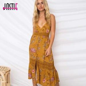 ee4d69ff5a7 Jastie Lace Boho Yellow Dress Beach Women Vestido