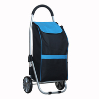 15%,Foldable Aluminum Alloy Shopping Cart 40kg Loading Portable Trolley with Waterproof Oxford Bag Travel Storage