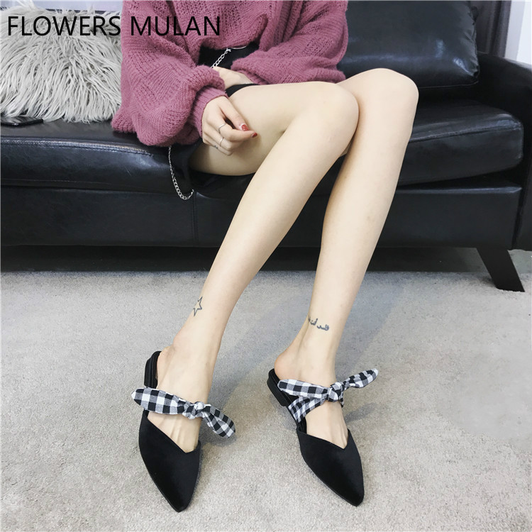 2018 Spring New Fashion Girl Leisure Shoes Flock Suede Upper Pointed Toe Slip On Chunky Heel Slippers With Butterfly-knot Women wholesale lttl new spring summer high heels shoes stiletto heel flock pointed toe sandals fashion ankle straps women party shoes