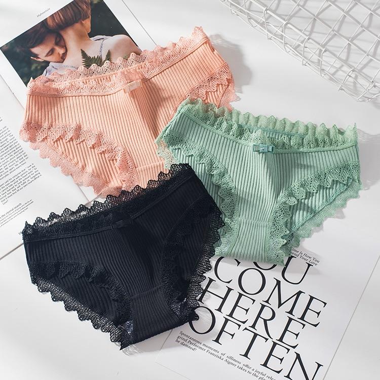 12pcs/lot Sexy Ladies Underwear Woman Panties Lace Briefs High Quality Cotton Low Waist Cute Women Underwear Lingerie NS9066(China)