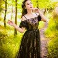 453ed903b33 Бесплатная доставка черный кружева пузырь рукав Старинные Средневековые  платья Ренессанс Принцесса Виктория платье Marie длинное