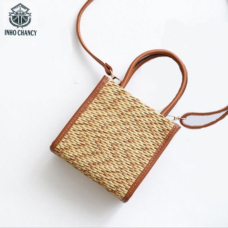 INHO CHANCY Fashion Straw Bag Contracted Panelled Women Woven Beach Bag Small Female Rattan Shoulder Bag bolsa feminina handbag