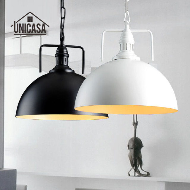 Industrial Black White Pendant Lights Wrought Iron Kitchen Island Office Lighting Fixtures Vintage Country