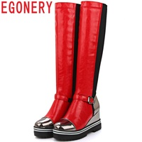 EGONERY classic knee high riding boots party sexy winter plush spring Elegant Fashion comfortable 9cm high heel women shoes