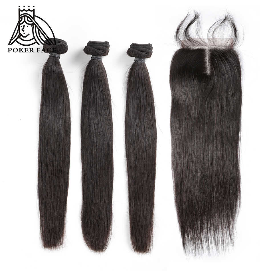 Poker Face Straight Hair Bundles with Closure 100%  Human Hair 3 4 Bundles with Closure Brazilian Hair Weave Bundles