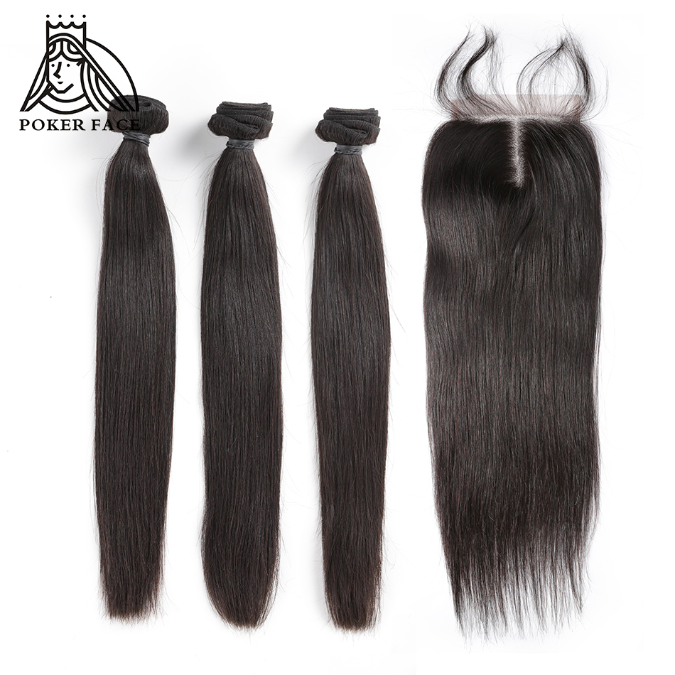 Poker Face Straight Hair Bundles with Closure 100%  Human Hair 3 4 Bundles with Closure Brazilian Hair Weave Bundles-in 3/4 Bundles with Closure from Hair Extensions & Wigs    1