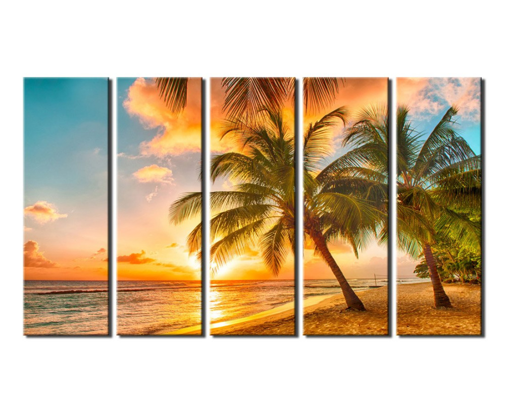 Large Canvas Wall Art Decor Sunset Sea Beach with Coconut Palm Modern Giclee Art Work Sea Painting Picture Drop shipping