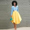 Smart Yellow Women Skirts Customized Nature Waistline A Line Tee Length Midi Skirt Fashion Chic Adults Skirts Spring Style