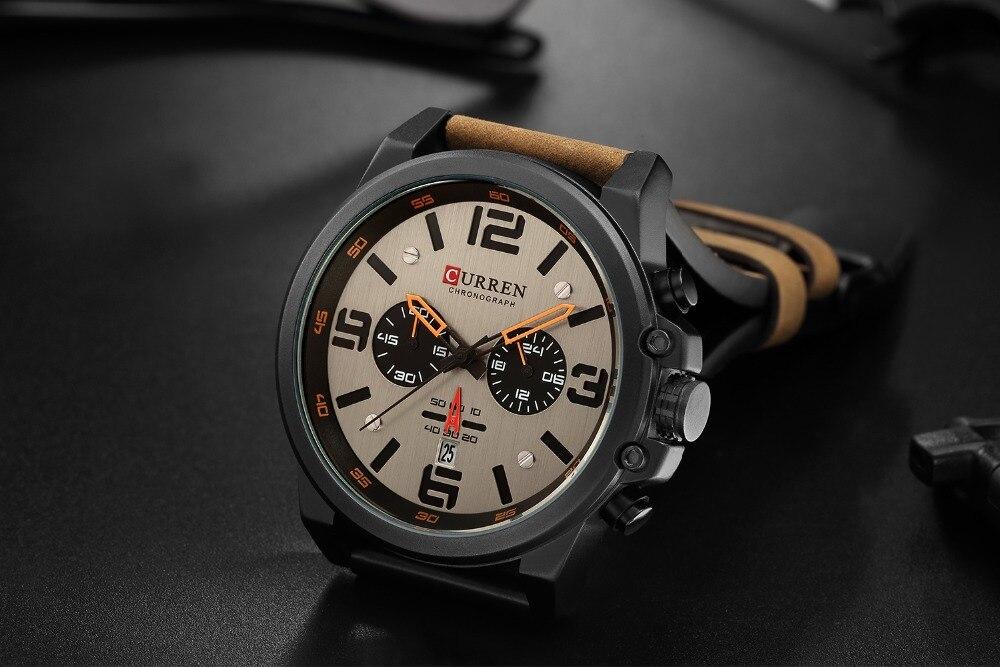 HTB1wPR0arH1gK0jSZFwq6A7aXXaV NEW CURREN Mens Watches Top Luxury Brand Waterproof Sport Wrist Watch Chronograph Quartz Military Leather Relogio Masculino