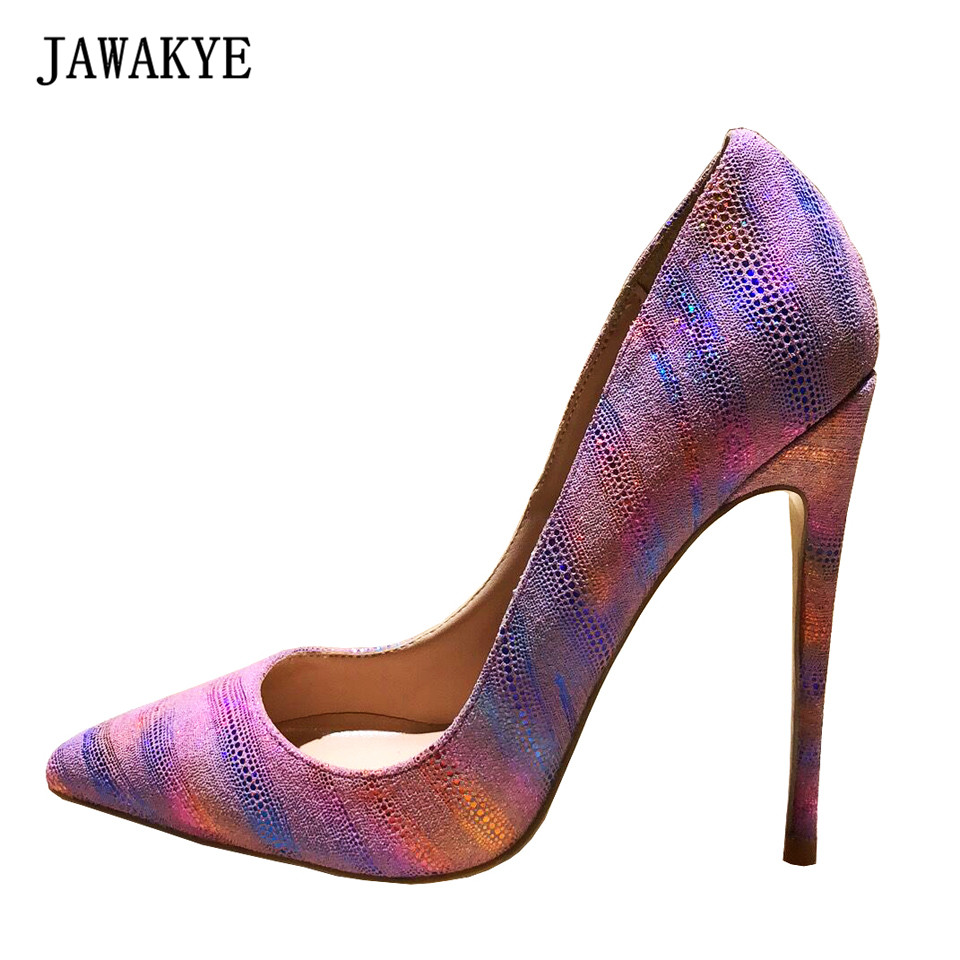 JAWAKYE Women Pumps High Quality Pink bling Paillette Wedding shoes Woman Gradient Rainbow extreme Thin high heels Shoes mules