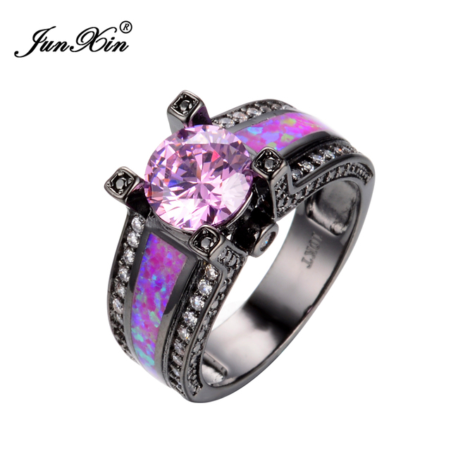 in p opal zirconia size rings fire white gold cubic engagement halo ring rose plated s sevil set