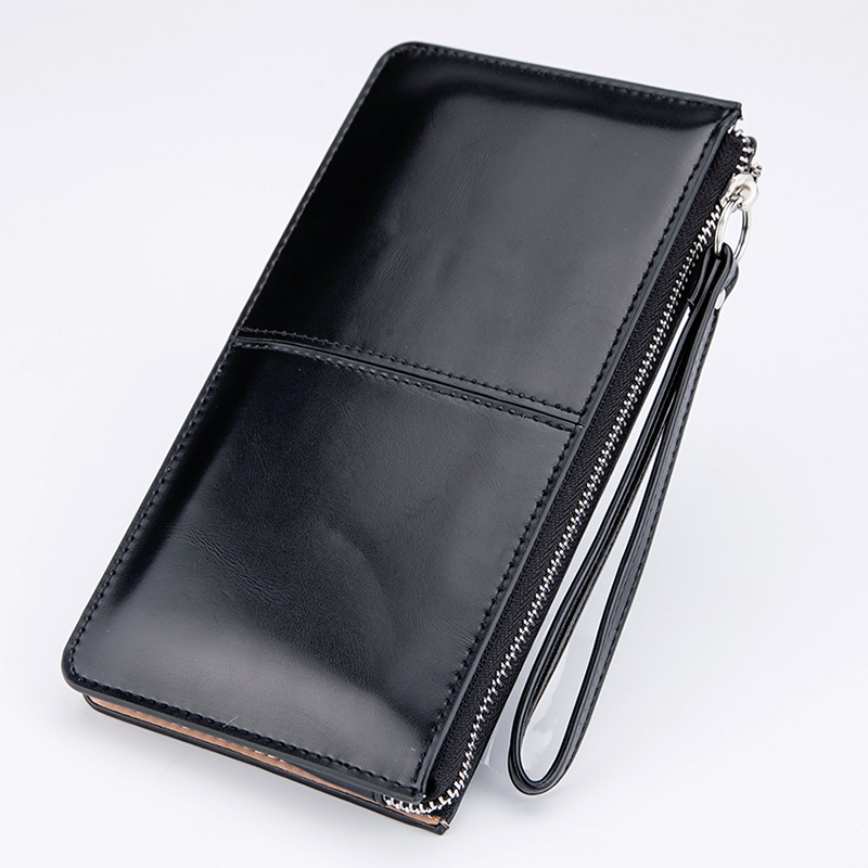 Women famous brand Oil wax leather zipper clutch wallet female purse lady Multi-function phone bag