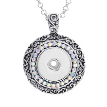 18mm Vintage Round Crystal Snap button Pendant DIY Replaceable Snaps Jewelry Crystal carve patterns button necklace for women