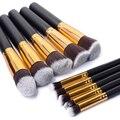 10 PCS ouro e prata Synthetic Kabuki maquiagem jogo de escova cosméticos fundação Blush maquiagem ferramenta