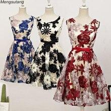 Robe de soiree Lace up Elegant Girl Evening Dresses Vintage Embroidery Vestidos De Festa Party Dress Formal 3 colors