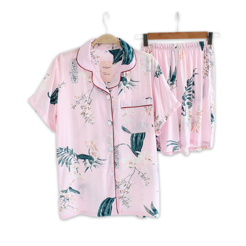 Sexy pink rayon Floral short   pajamas     sets   women sleep indoor korean Fresh pyjamas Summer short sleeves pijamas de las mujeres