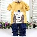 2015 outono impressão meninos meninas babi infantil crianças de manga comprida t topos + completos calças compridas conjuntos de vestuário terno PLUS050