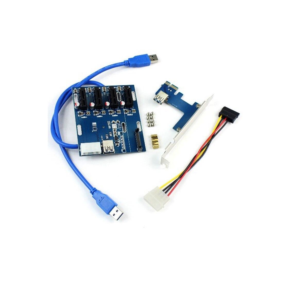 Nouveau ajouter des cartes PCIe 1 à 4 emplacements PCI express 1X carte Riser Mini ITX vers externe 4 adaptateur de slot PCI-e carte multiplicateur de Port PCIe