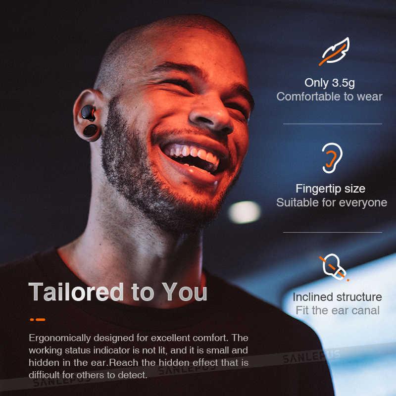 SANLEPUS tws 5.0 ミニ Bluetooth イヤホンワイヤレススポーツヘッドフォン 3D ステレオヘッドセットとマイク