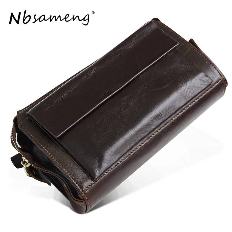 NBSAMENG Genuine Leather Men Wallet Long Large Capacity Wallet Phone Bag Wristlet Business Wallet Men Purse Male Card ID Holder genuine leather men business wallets coin purse phone clutch long organizer male wallet multifunction large capacity money bag