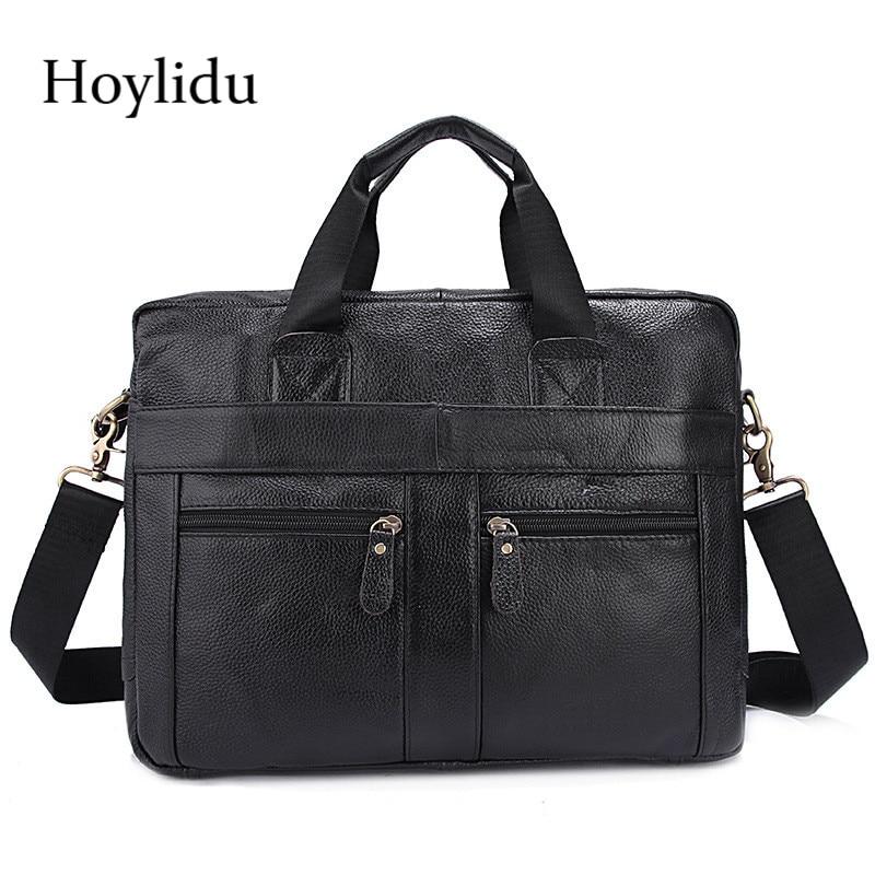Business Genuine Leather Mens Briefcase Vintage Casual Large Capacity Shoulder Bags Travel Laptop Handbag For Male Messenger Bag все цены