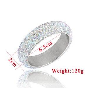Image 2 - Brazaletes anchos de acero inoxidable para mujer, pulseras de mujer brillantes con cristal austriaco de CZ blanco, nuevos estilos 2019