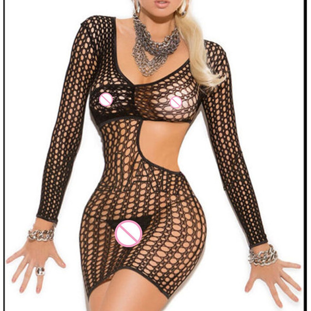 Women Sexy Lingerie Erotic Hot Underwear Slpeewear Plus Size Mesh Sheer Sexy Body Costumes Hollow Out Mini Dress Lenceria wy319