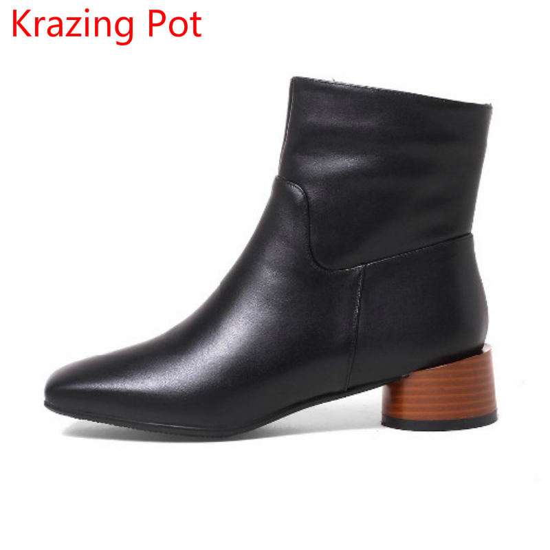 2018 Fashion Winter Boots Zipper European Designer Runway Handmade Chelsea Boots Thick Heels Concise Ankle Boots for Women L31 fashion genuine leather chelsea boots handmade keep warm winter boots round toe thick heels concise ankle boots for women l08