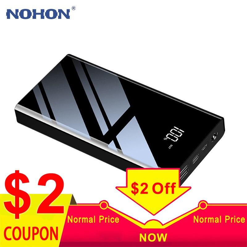 NOHON 30000mAh batterie externe borne chargeuse portable batterie externe pour iPhone XS Samsung Xiaomi 2.1A charge rapide double chargeur USB