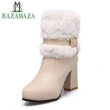 5ff5fc67e285a6 RAZAMAZA 4 couleurs taille 34-43 femmes fourrure épaisse bottes à talons  hauts Zipper demi bottes courtes chaussures d'hiver Bot.