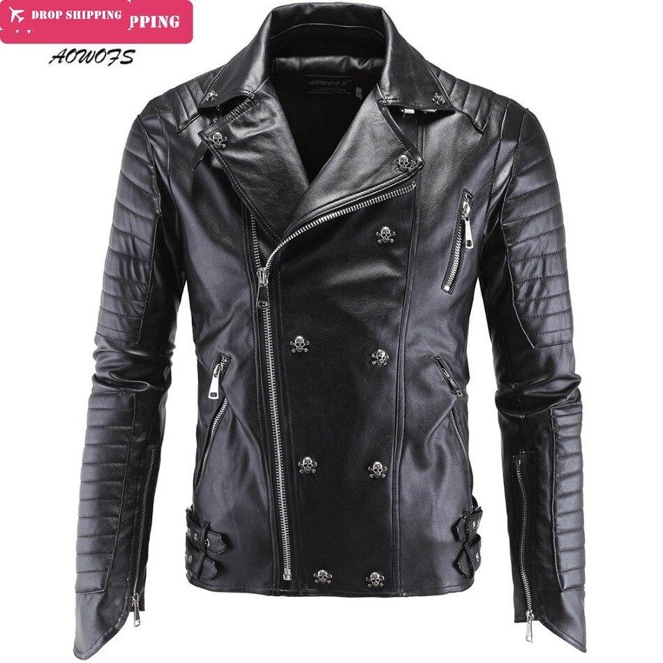 Men's Winter Leather Jackets Faux Jacket Korean Stylish Slim Fit Coats Men Moto Skull Suede Jacket Men