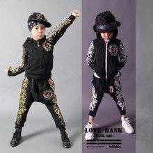 Мода весна осень детская одежда набор золото Печати Костюм дети спорт костюмы лоскутное Хип-Хоп танец брюки и футболка