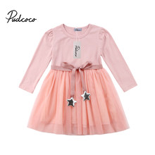 374c9b9ceb05c Pudcoco 2018 New Tollder Kid Baby Clothing Infant Girls Long Sleeves Party Dress  Tutu Lace Cotton Outfit sweet trend pink FX