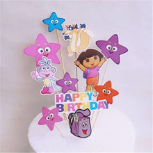 Dora The Explorer Cake Topper Dora Party Decorations Disposable Tableware Set Kids Birthday Party Baby Shower Decor Supplies dora the explorer little girls ballet dance pajama set