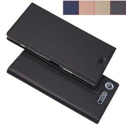 Matowy portfel etui z klapką pokrywy skrzynka dla Sony Xperia XZ1/XZ1 kompaktowy magnetyczny adsorpcja przypadku telefonu styl biznesowy w Etui na telefon z klapką od Telefony komórkowe i telekomunikacja na