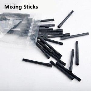 Image 2 - Für Tattoo Ink Pigment Mixer Tattoo Mischen Sticks Tattoo Pigment Ink Mixer 100 stücke Kunststoff Mischen Sticks Microblading Pigment Sticks