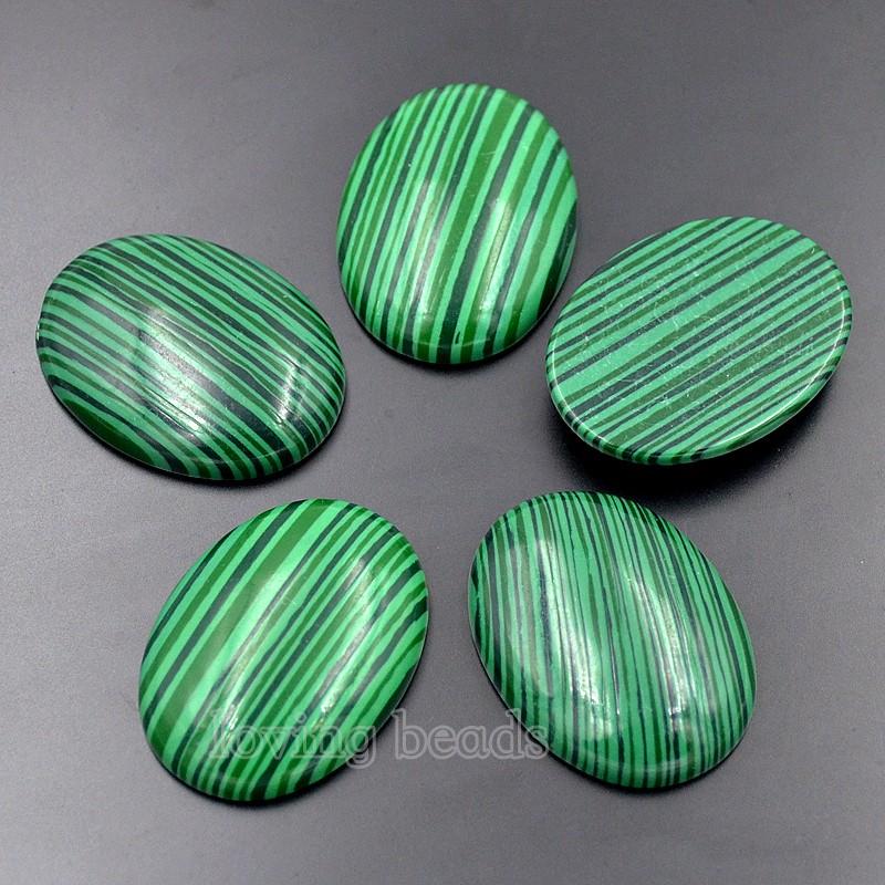 2pcs 30x40mm 40x30mm Azurite Malachite Oval Synthetic Cabochon Gemstones Resin