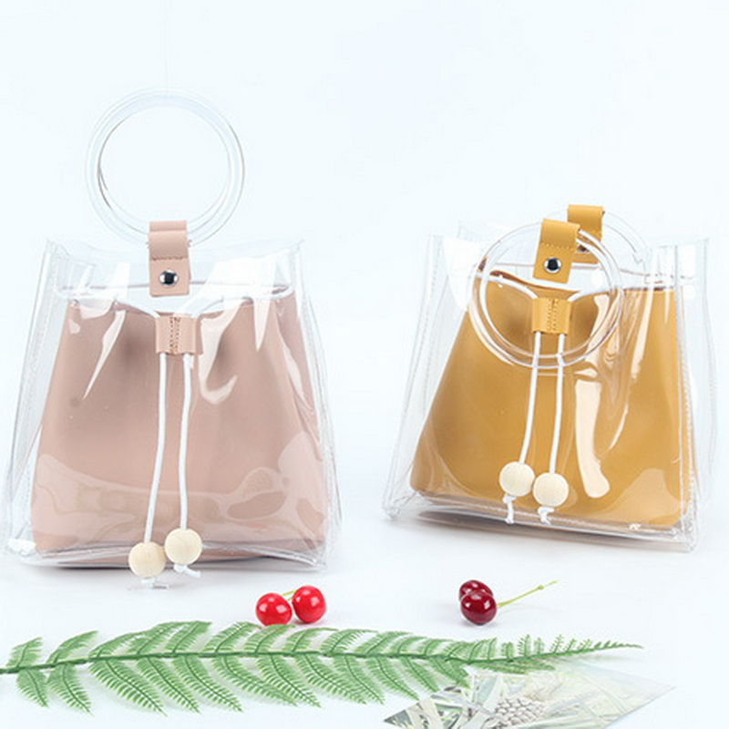 2018 New Fashion Style Transparent Women Messanger Bags Good Design High Quality PVC Totes girls Beach bag For S